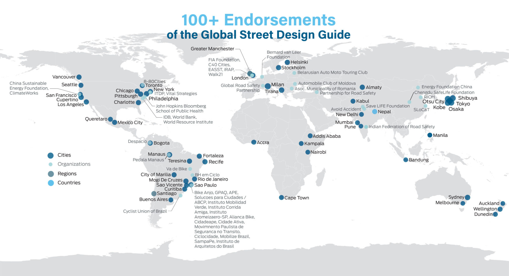 Map of the world highlighting cities, regions, and countries that have endorsed the Global Streets Design Guide