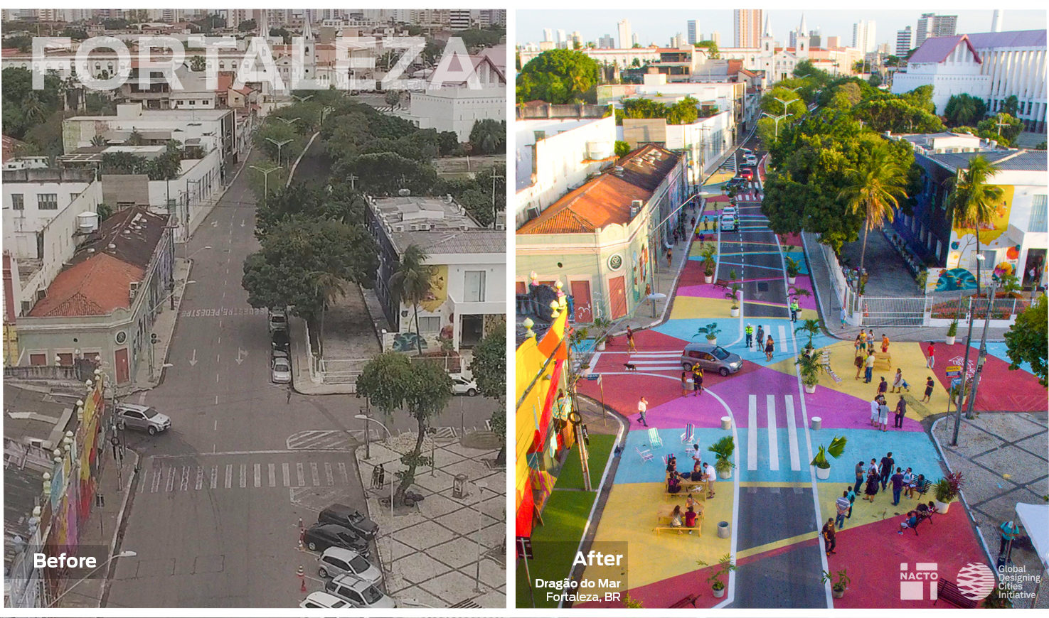 Image of an unused street turned in a temporary public space