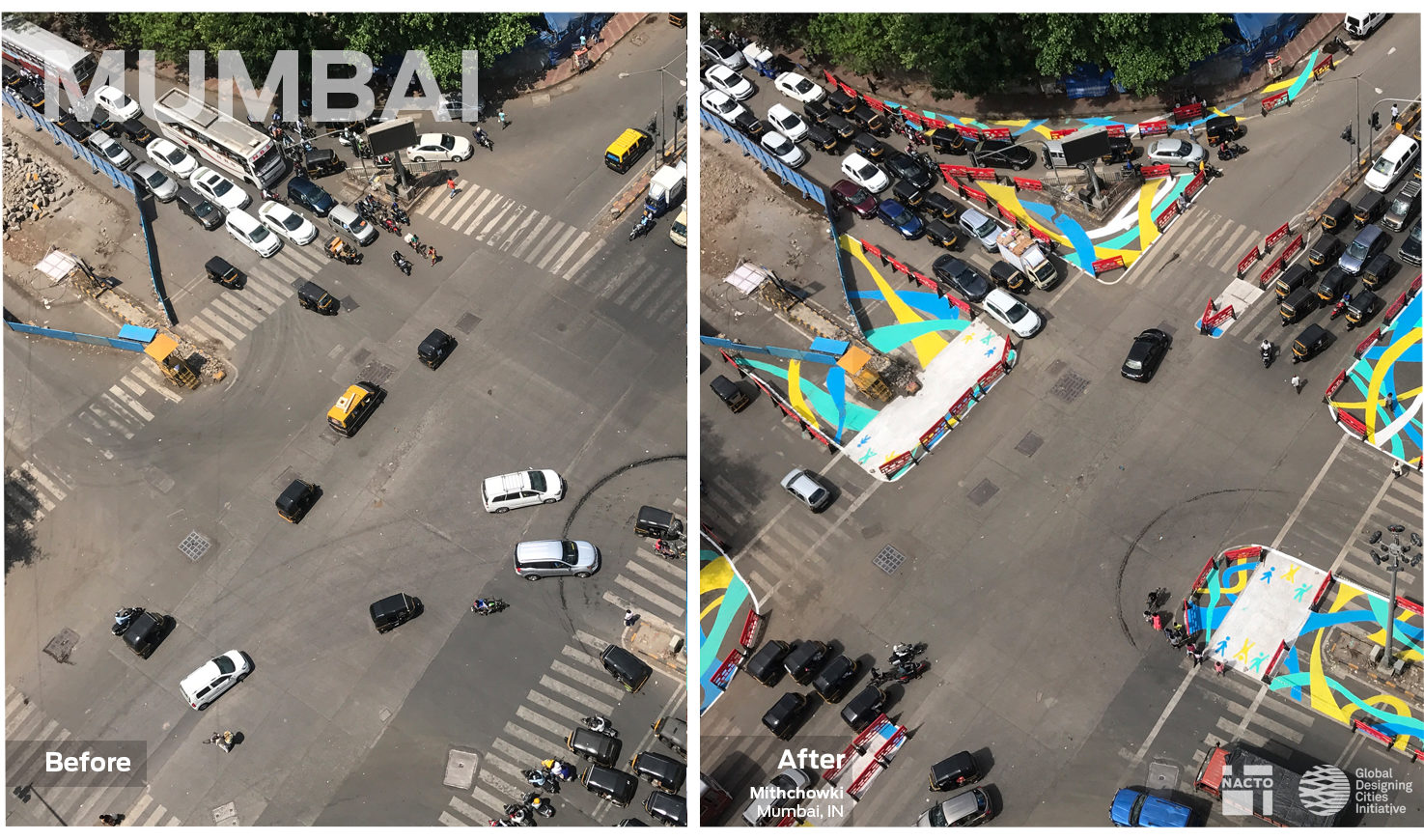 Image of a large intersection turned into a safer space for pedestrians