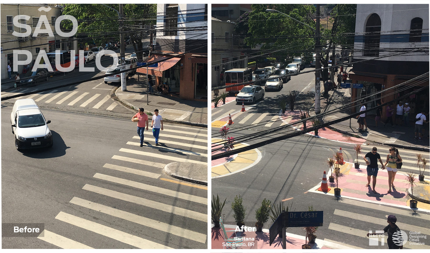 Image of an unsafe roundabout turned into a safer space for pedestrians