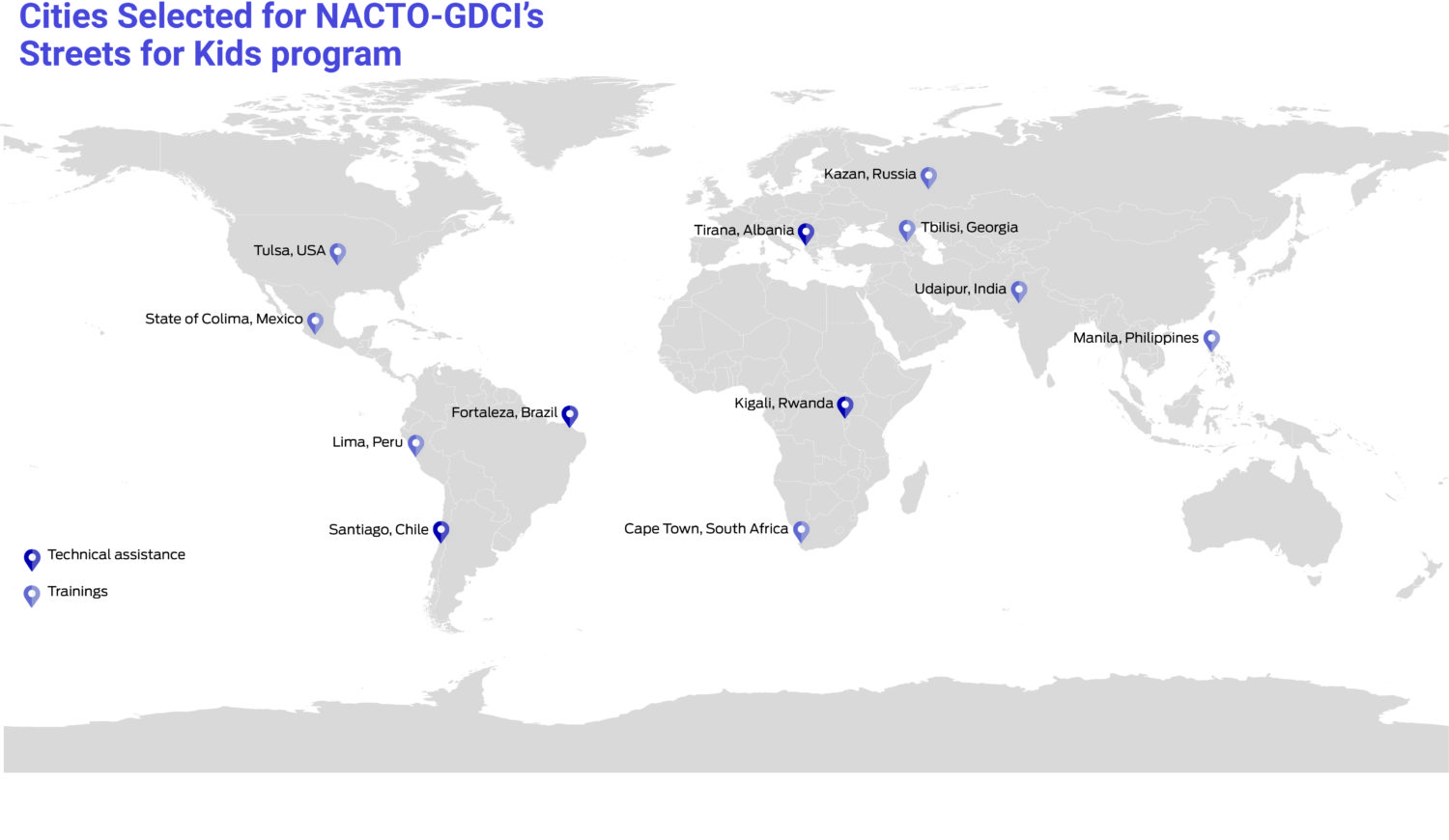 Map of the world highlighting the twelve cities selected under the Streets for Kids initiative